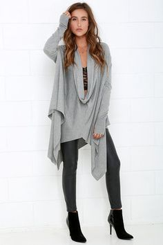 Chic Grey Sweater Top - Long Sleeve Top - High-Low Top - $79.00