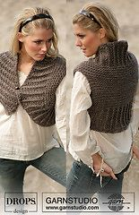 """Ravelry: 98-47 chunky knitted Shrug in """"Eskimo"""" - free pattern by DROPS design"""