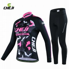 (42.78$)  Know more - http://aixpm.worlditems.win/all/product.php?id=32766415723 - Cheji Winter Cycling Jersey Long Sleeve Riding Clothing Set Women Roupa Ciclismo Thermal Warm Slim Windproof 3D Pad Sportswear