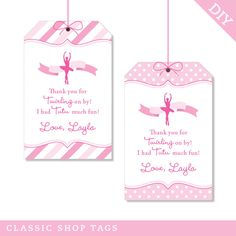 Thank you tags, adorable and the patterns are too! Ballet party  Custom DIY printable favor tags by Chickabug on Etsy, $12.00