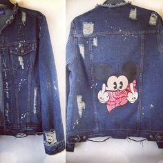 Hand Painted custom denim jacket Rude Mickey