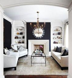 Living Room with Black Walls - Contemporary - living room - Laura Hay Decor Design Formal Living Rooms, My Living Room, Living Spaces, Modern Living, Small Living, Cozy Living, Luxury Living, Contemporary Living, Dark Walls Living Room