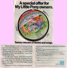 Mail-Away My Little Pony Picture Disc, with seven songs and a story (My Little Pony Comic #1, 1985, UK)
