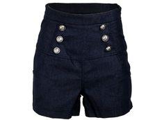Sailor Denim Nautical Anchor Rockabilly High Waist Women's Shorts Hotpants - http://cheune.com/a/65767634660005569