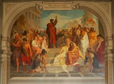 Paulo pregando em Atenas. Pintura na parede do auditório Weise-Gymnasium, em Zittau, na Saxônia - Anton Dietrich (1833–1904) / Paulus predigt in Athen - Aula des Johanneums Zittau - Anton Dietrich (1833–1904)