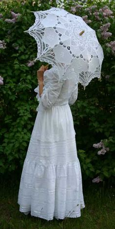 steampunk clothing flowergirl | Recollections: White Batiste Dress Victorian style lace parasol for wedding www.parasolheaven.com