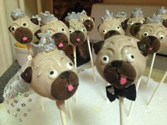 Bride and groom wedding pug cake pops for j & j