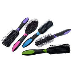 Basic Solutions Assorted Colorful Plastic Hair Brushes (Set of Hair Brush Set, Dollar Tree, Brushes, Hair Care, Plastic, Colorful, Gray, Beauty, Ash