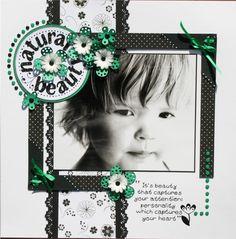 Precious LO! Love the black and white. Natural Beauty - Scrapbook.com