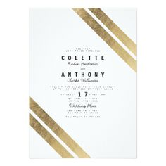 Elegant chic faux gold white modern stripe wedding card