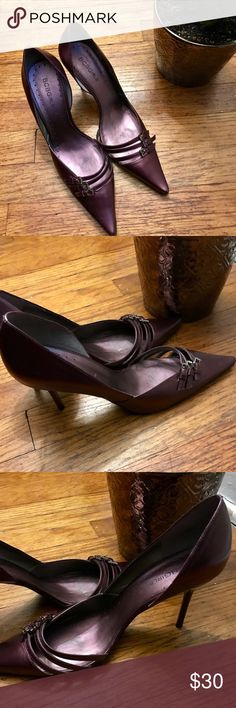 BCBGirls metallic purple pointy toe heels! Worn only a few times! These BCBGirls metallic purple heels are so gorgeous! Buckle accent in the front! 3.5 inch heel! BCBGirls Shoes Heels