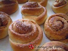 Νορβηγικά τσουρεκάκια (Skillingsboller) Sweet Buns, Sweet Pie, Sweets Recipes, Cake Recipes, Cooking Recipes, Greek Desserts, Greek Recipes, Sweet And Salty, Homemade Cakes