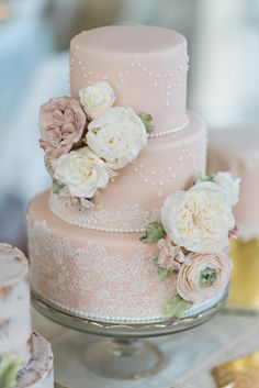 vintage pink wedding cake with lace and floral detailsYou can find Vintage wedding cakes and more on our website.vintage pink wedding cake with lace and floral details Blush Wedding Cakes, Romantic Wedding Centerpieces, Country Wedding Cakes, Floral Wedding Cakes, Wedding Cake Rustic, Elegant Wedding Cakes, Beautiful Wedding Cakes, Wedding Cake Designs, Beautiful Cakes