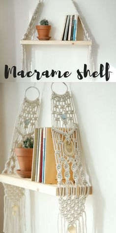 Macrame wall hanging Shelf can hang and decor your walls and give your home the boho look. This modern macrame gives your room warm feeling, you can hang it in your bedroom,living room or any other room.Macrame wall hanging, vintage macrame, floating shelf, macrame wood shelf, macrame bookshelf affiliate link