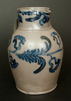 Realized 2,300.00. FAB!! Fine and Rare Baltimore Stoneware Pitcher w/ Elaborate Cobalt Floral Decoration, Two-Gallon -- March 1, 2014 Stoneware Auction by Crocker Farm, Inc.
