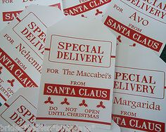 10-Kraft-White-Gift-Tags-SPECIAL-DELIVERY-SANTA-Christmas-Favour-Personalised