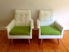 Retro 60s/70s LOUNGE SUITE 3-Seater Couch 2 Armchairs & Foot Stool White VINYL