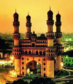 The Charminar is a monument and mosque located in Hyderabad, Telangana, India. Via MBAonEMI Amazing India, Famous Buildings, Famous Monuments, Indian Architecture, Famous Places, India Travel, India Trip, Historical Sites, Beautiful Places