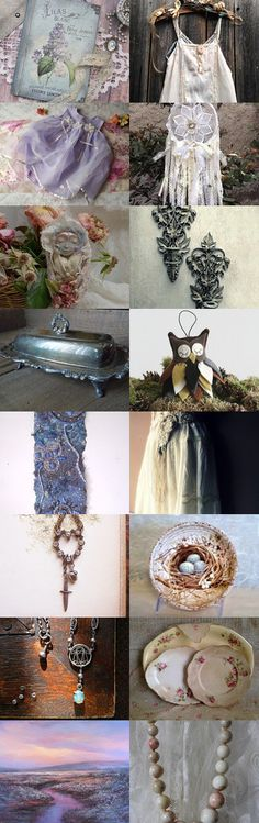 Softness ~ Two for Tuesday ~ by Julie Sumerta on Etsy--Pinned+with+TreasuryPin.com Boho Chic, Shabby Chic, Collages, Tuesday, Handmade Items, Artisan, Table Decorations, Board, Creative