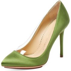 Charlotte Olympia Women's Party Shoes Satin Pump - Green - Size 41 (£145) ❤ liked on Polyvore featuring shoes, pumps, heels, charlotte olympia, green, green platform pumps, green satin pumps, pointy toe pumps, green satin shoes and pointed toe high heel pumps