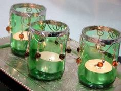 Old glass #winebottles are transformed into one-of-a-kind Beaded Glass Votive Candle Holders