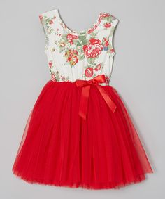 Red Floral Tutu Cap-Sleeve Dress
