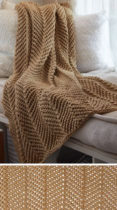 Free Knitting Pattern for 4 Row Repeat Zigging Throw - This afghan is knit with a 4 row zigzag pattern with 2 strands of yarn held together for a quick project. Throw measures 46″ [117 cm] x 55″ [140 cm]. Designed by Rebecca J. Venton for Red Heart.