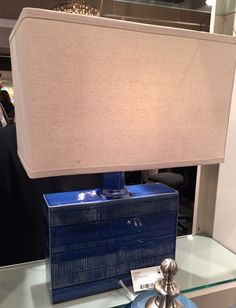 Trend alert: Blue is strong in both lighting to textiles. Lamp available through Cabana Home Santa Barbara