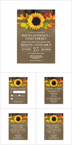 Rustic Fall WEDDING SET COLLECTION Sunflower Leaves Autumn Country Chic Sunflowers Burlap Wedding Invitations Invites Announcements RSVP Cards & More!