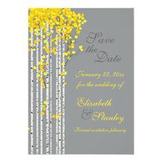 Birch trees yellow, grey wedding Save the Date Custom Invitations