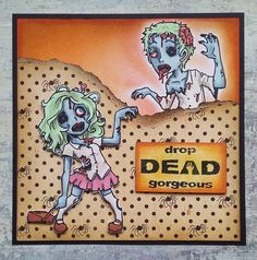 Visible Image Stamps - Zombie Brian and Dawn Image Stamp, Art Journaling, Handmade Cards, Dawn, Wonderland, Stamps, Alternative, Playing Cards, Card Making