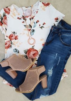38 casual denim outfits for spring 2019 – Mode richtig kombinieren – Outfit Jeans, Outfit Chic, Denim Outfits, Fall Outfits, Fashion Outfits, Womens Fashion, Floral Shirt Outfit, Casual Jeans Outfit Summer, Fashion 2018