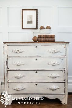 Linen Dresser - painted in Miss Mustard Seed's Milk Paint, Linen (color), then distressed - Miss Mustard Seed Redo Furniture, Shabby Chic Dresser, Repurposed Furniture, Home Furniture, Furniture Inspiration, Painted Furniture, Refinishing Furniture, Furniture, Shabby Chic Furniture