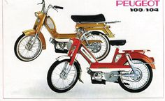 Cyclo Peugeot 103 et 104 - Vintage Motorcycles, Cars Motorcycles, Peugeot 104, Motocross, Moto Design, Peugeot France, Moto Scooter, Auto Retro, Vintage Cycles
