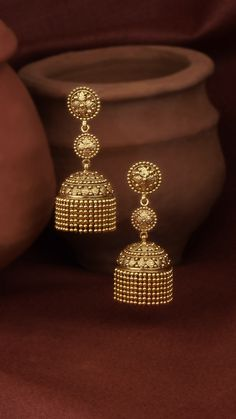 A multitude of gold granules crafted to adorn the AZVA earrings. Gold Jhumka Earrings, Gold Bridal Earrings, Jewelry Design Earrings, Gold Earrings Designs, Bridal Jewelry, Jhumka Designs, Fancy Earrings, Ruby Earrings, Hoop Earrings