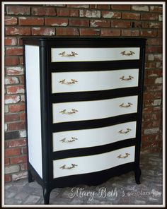 Unbelievable Diy Ideas: Furniture Drawing Elevation refinishing furniture without sanding.Home Furniture Tips repurposed furniture projects. Black And White Dresser, Black And White Furniture, White Painted Furniture, Refurbished Furniture, Repurposed Furniture, Furniture Plans, Furniture Makeover, Living Room Furniture, Home Furniture
