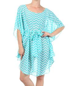 Another great find on #zulily! J-MODE Mint & White Zigzag Cape-Sleeve Dress by J-MODE #zulilyfinds