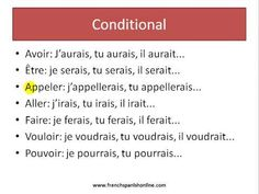 conditional in french Grammar And Vocabulary, Grammar Lessons, How To Speak French, Learn French, Teaching Activities, Teaching Ideas, French Grammar, French Classroom, Teaching French
