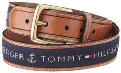 Tommy Men's Ribbon Inlay Belt,Navy,