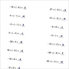 61 best Negative numbers images on Pinterest | High school maths ...