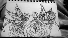 Birds and roses! #roses #drawing #birds #blackandwhite #tattooidea #uniwork