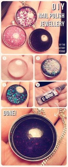 DIY Nail Polish Jewelry - I keep seeing really detailed nail art. But it's too temp for me to spend the time and money to do. However, this little craft would be perfect to try some of those designs. by Gelikitty