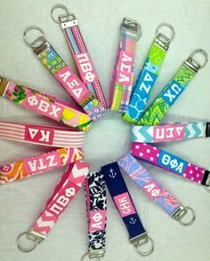 Monogrammed or Sorority Fabric Keychain Wristlet cute big/little gift