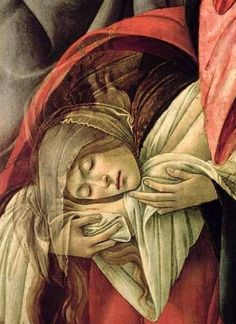 Sandro Botticelli - Renaissance - Mary Magdalen, Lamentation of Christ (detail) Renaissance Kunst, Italian Renaissance Art, Renaissance Paintings, Renaissance Artists, Giorgio Vasari, Catholic Art, Religious Art, Sandro, Maria Magdalena