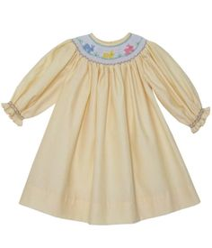 Hand Smocked Yellow Girls Bishop Dress with the Easter Bunny and Long