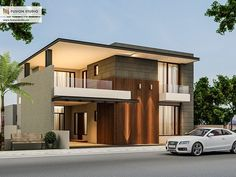 500 Yards House Elevation on Behance Bungalow Haus Design, Duplex House Design, House Front Design, Modern House Design, Villa Design, Facade Design, Modern Architecture House, Architecture Design, Style At Home
