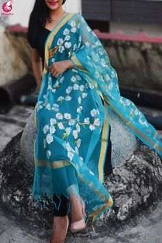 Shop Sky Blue Oraganza Handpainted Floral Stole - Stoles Online in India Indian Attire, Indian Outfits, Indian Wear, Simple Indian Suits, Wedding Lehenga Designs, Simple Kurti Designs, Hand Painted Fabric, Romper Pattern, Dress Neck Designs