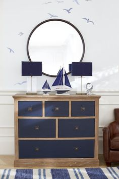 Monique Lhuillier Pottery Barn Kids Nursery Room Collection | If You Loved Planning Your Wedding, This Is the Nursery Room of Your Dreams | POPSUGAR Family Photo 13 Nautical Dresser, Rustic Dresser, Coastal Dresser, Bedroom Themes, Home Decor Bedroom, Nautical Bedroom Furniture, Bedroom Décor, Bedroom Ideas, Mirrored Furniture
