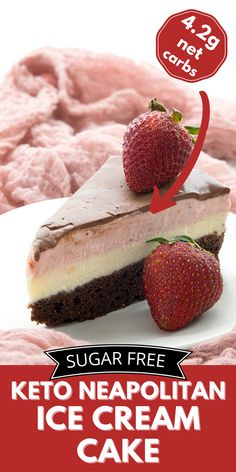 You won't find a more spectacular keto dessert than this homemade Neapolitan Ice Cream Cake! Tender low carb chocolate cake with layers of no-churn keto ice cream and a sugar-free chocolate glaze. Low Carb Chocolate Cake, Keto Chocolate Recipe, Chocolate Glaze, Sugar Free Chocolate, Mug Recipes, Sugar Free Recipes, Cream Recipes, Keto Dessert Easy, Healthy Dessert Recipes
