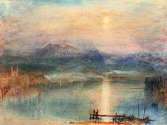 Joseph Mallord William Turner Moonlight on Lake Lucerne with the Rigi in the Distance, Switzerland (c. watercolour, bodycolour and scratching out on paper 23 x cm The Whitworth Art Gallery, Manchester, England Watercolor Landscape Paintings, Landscape Art, Sunset Paintings, Art Romantique, Turner Watercolors, Images D'art, Turner Painting, Joseph Mallord William Turner, Guache